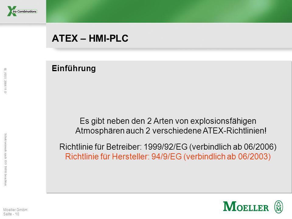 IB ATEX 2004-11-D Schutzvermerk nach ISO 16016 beachten Moeller GmbH Seite - 10 ATEX – HMI-PLC Einführung Es gibt neben den 2 Arten von explosionsfähi