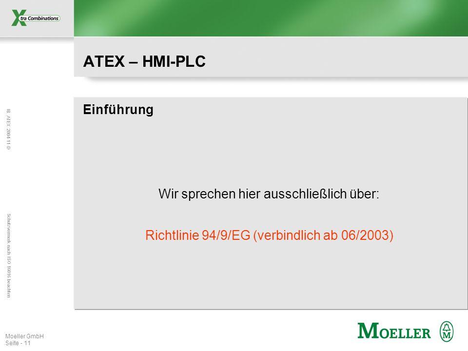 IB ATEX 2004-11-D Schutzvermerk nach ISO 16016 beachten Moeller GmbH Seite - 11 ATEX – HMI-PLC Einführung Richtlinie 94/9/EG (verbindlich ab 06/2003)
