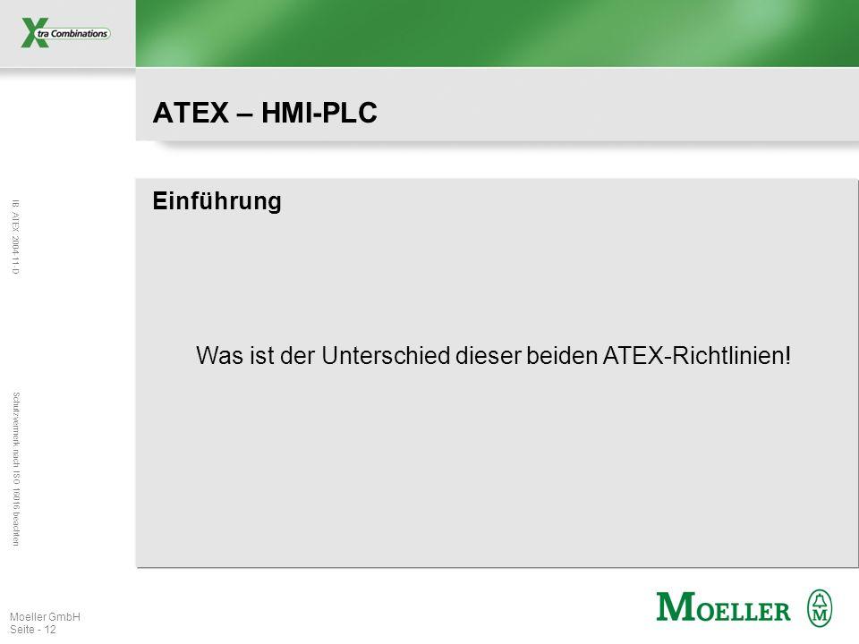 IB ATEX 2004-11-D Schutzvermerk nach ISO 16016 beachten Moeller GmbH Seite - 12 ATEX – HMI-PLC Einführung Was ist der Unterschied dieser beiden ATEX-R
