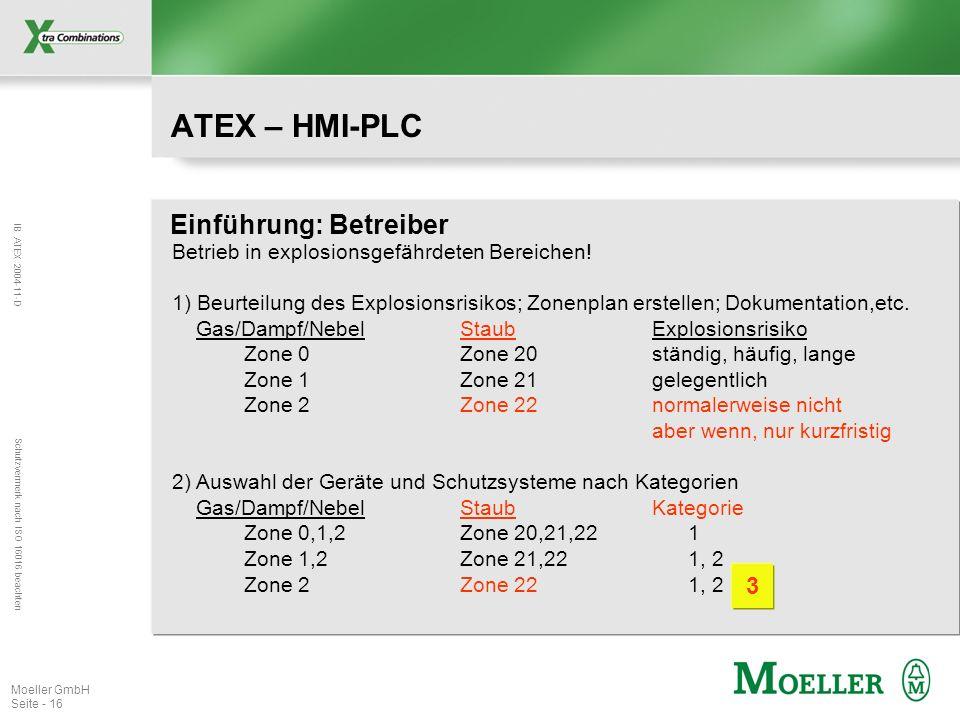 IB ATEX 2004-11-D Schutzvermerk nach ISO 16016 beachten Moeller GmbH Seite - 16 ATEX – HMI-PLC Einführung: Betreiber Betrieb in explosionsgefährdeten