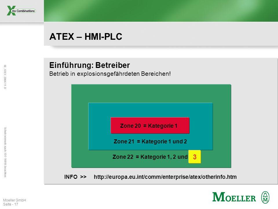 IB ATEX 2004-11-D Schutzvermerk nach ISO 16016 beachten Moeller GmbH Seite - 17 ATEX – HMI-PLC Einführung: Betreiber Betrieb in explosionsgefährdeten