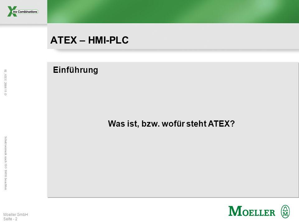 IB ATEX 2004-11-D Schutzvermerk nach ISO 16016 beachten Moeller GmbH Seite - 2 Einführung Was ist, bzw. wofür steht ATEX? ATEX – HMI-PLC