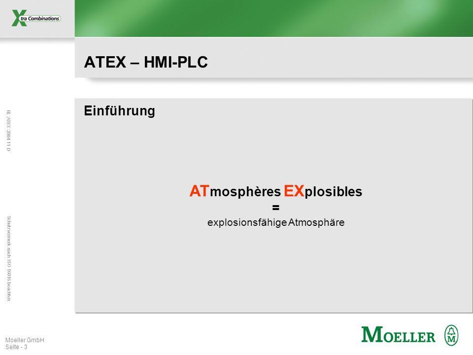 IB ATEX 2004-11-D Schutzvermerk nach ISO 16016 beachten Moeller GmbH Seite - 3 ATEX – HMI-PLC Einführung AT mosphères EX plosibles = explosionsfähige