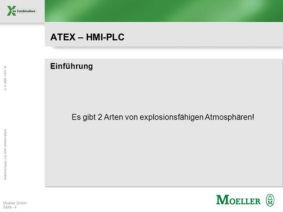 IB ATEX 2004-11-D Schutzvermerk nach ISO 16016 beachten Moeller GmbH Seite - 4 ATEX – HMI-PLC Einführung Es gibt 2 Arten von explosionsfähigen Atmosph