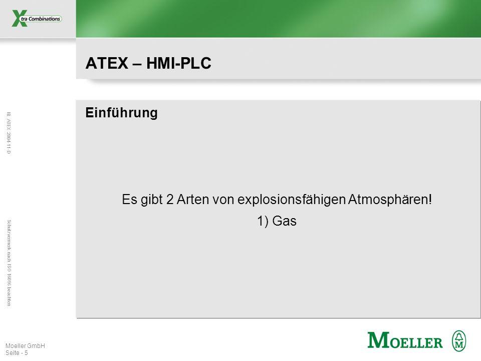 IB ATEX 2004-11-D Schutzvermerk nach ISO 16016 beachten Moeller GmbH Seite - 5 ATEX – HMI-PLC Einführung Es gibt 2 Arten von explosionsfähigen Atmosph