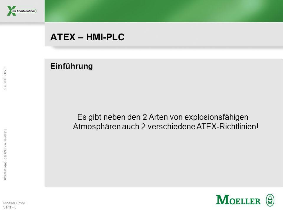 IB ATEX 2004-11-D Schutzvermerk nach ISO 16016 beachten Moeller GmbH Seite - 8 ATEX – HMI-PLC Einführung Es gibt neben den 2 Arten von explosionsfähig
