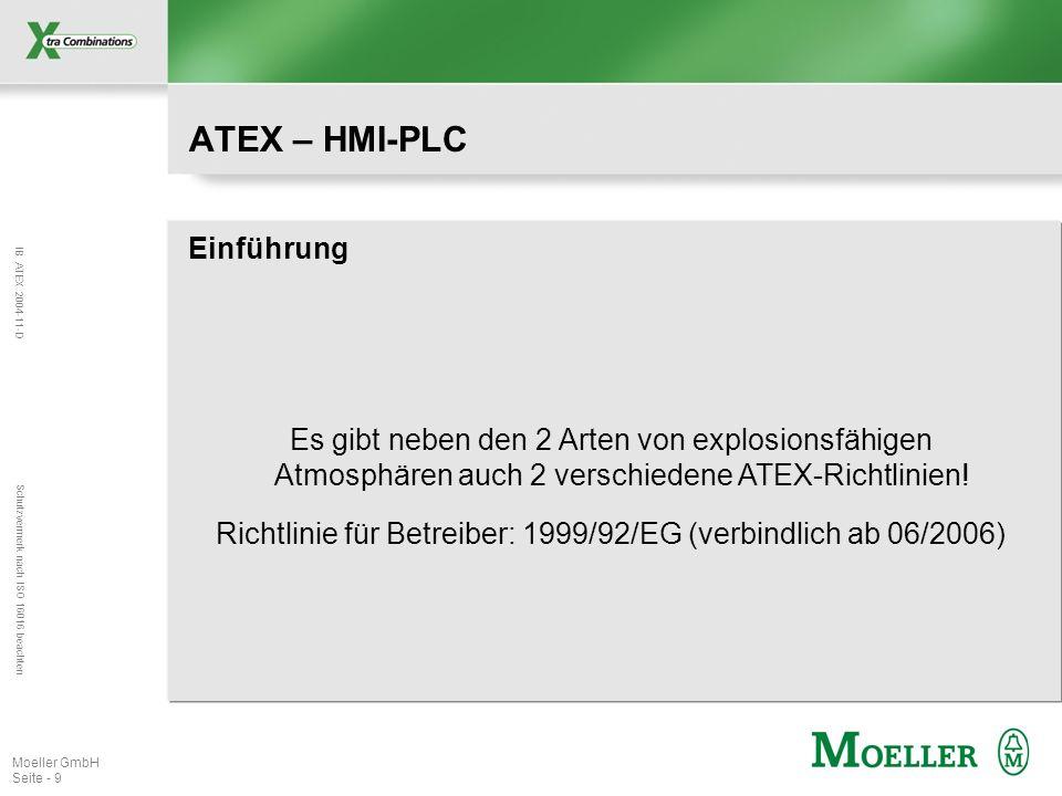 IB ATEX 2004-11-D Schutzvermerk nach ISO 16016 beachten Moeller GmbH Seite - 9 ATEX – HMI-PLC Einführung Es gibt neben den 2 Arten von explosionsfähig