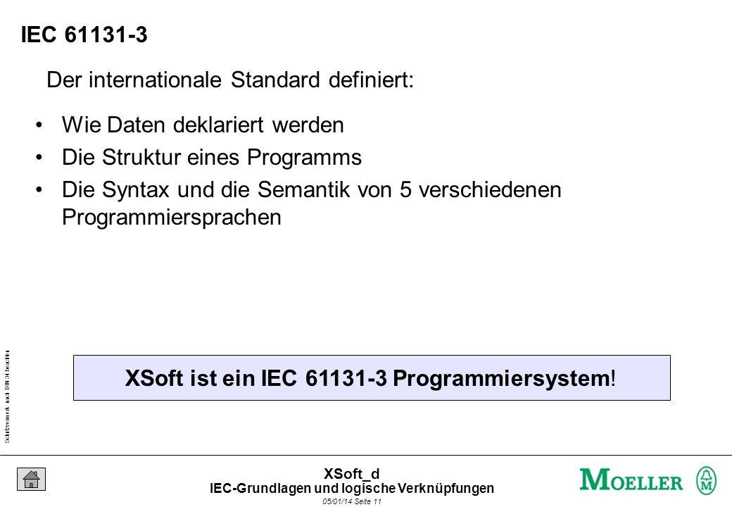 Schutzvermerk nach DIN 34 beachten 05/01/14 Seite 11 XSoft_d Der internationale Standard definiert: XSoft ist ein IEC 61131-3 Programmiersystem.