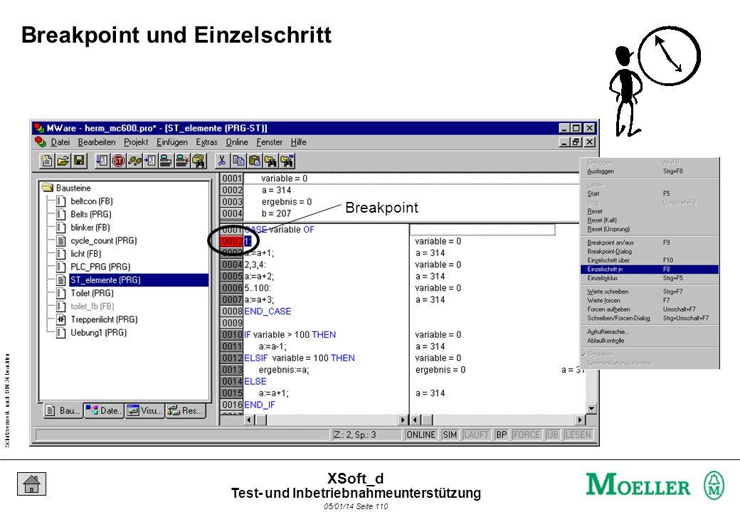Schutzvermerk nach DIN 34 beachten 05/01/14 Seite 110 XSoft_d Breakpoint Breakpoint und Einzelschritt Test- und Inbetriebnahmeunterstützung
