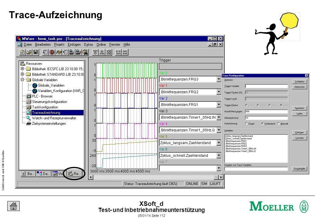 Schutzvermerk nach DIN 34 beachten 05/01/14 Seite 112 XSoft_d Trace-Aufzeichnung Test- und Inbetriebnahmeunterstützung