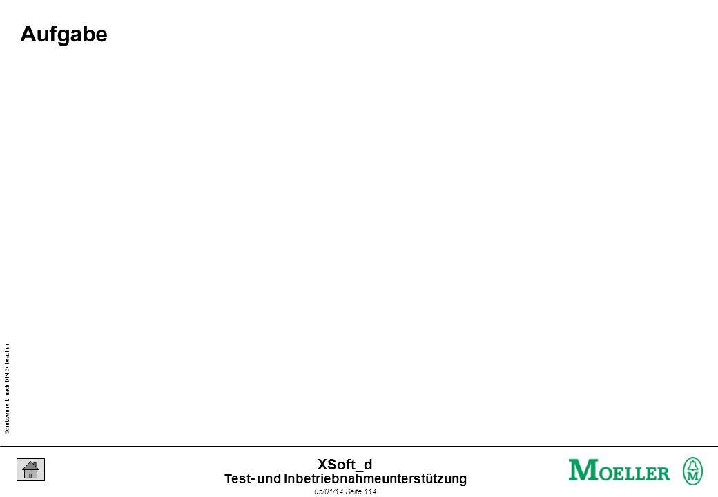 Schutzvermerk nach DIN 34 beachten 05/01/14 Seite 114 XSoft_d Aufgabe Test- und Inbetriebnahmeunterstützung