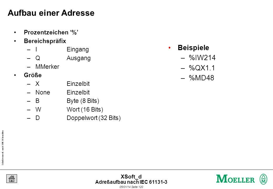 Schutzvermerk nach DIN 34 beachten 05/01/14 Seite 120 XSoft_d Beispiele –%IW214 –%QX1.1 –%MD48 Aufbau einer Adresse Prozentzeichen % Bereichspräfix –IEingang –QAusgang –MMerker Größe –XEinzelbit –NoneEinzelbit –BByte (8 Bits) –WWort (16 Bits) –DDoppelwort (32 Bits) Adreßaufbau nach IEC 61131-3