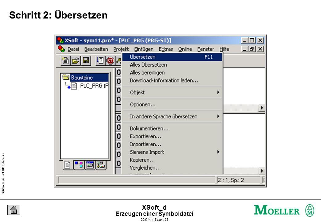 Schutzvermerk nach DIN 34 beachten 05/01/14 Seite 123 XSoft_d Schritt 2: Übersetzen Erzeugen einer Symboldatei