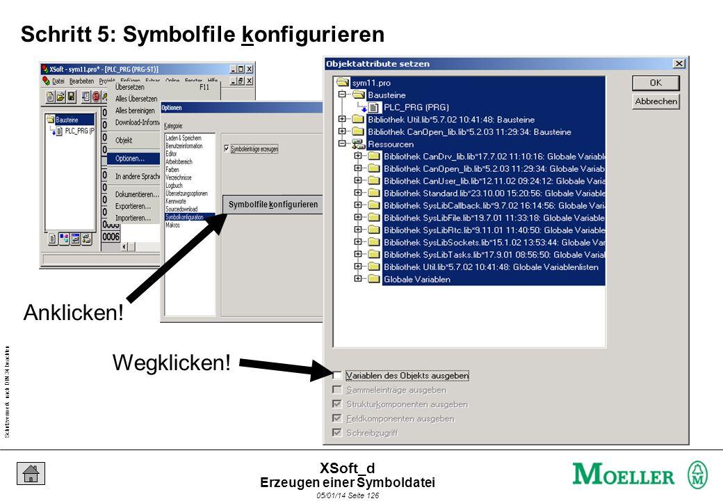 Schutzvermerk nach DIN 34 beachten 05/01/14 Seite 126 XSoft_d Schritt 5: Symbolfile konfigurieren Wegklicken! Symbolfile konfigurieren Anklicken! Erze