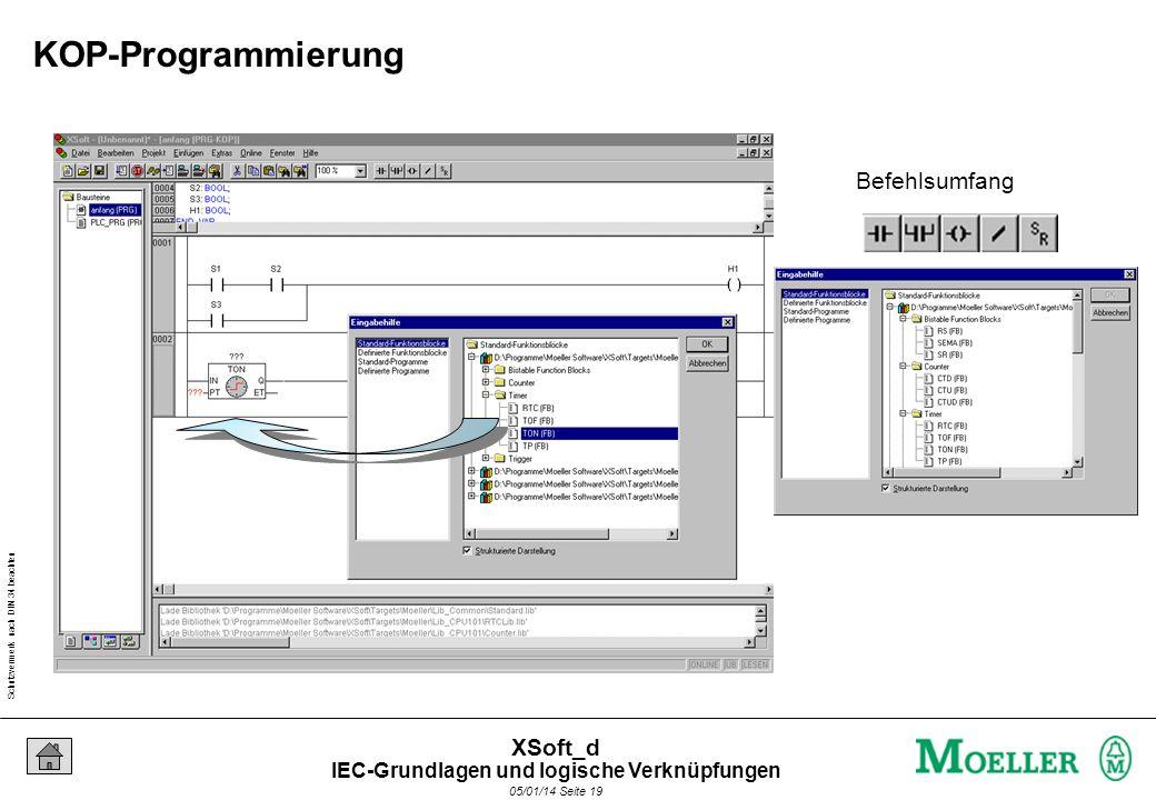 Schutzvermerk nach DIN 34 beachten 05/01/14 Seite 19 XSoft_d Befehlsumfang KOP-Programmierung IEC-Grundlagen und logische Verknüpfungen