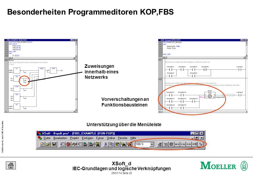 Schutzvermerk nach DIN 34 beachten 05/01/14 Seite 20 XSoft_d Zuweisungen innerhalb eines Netzwerks Unterstützung über die Menüleiste Vorverschaltungen an Funktionsbausteinen Besonderheiten Programmeditoren KOP,FBS IEC-Grundlagen und logische Verknüpfungen
