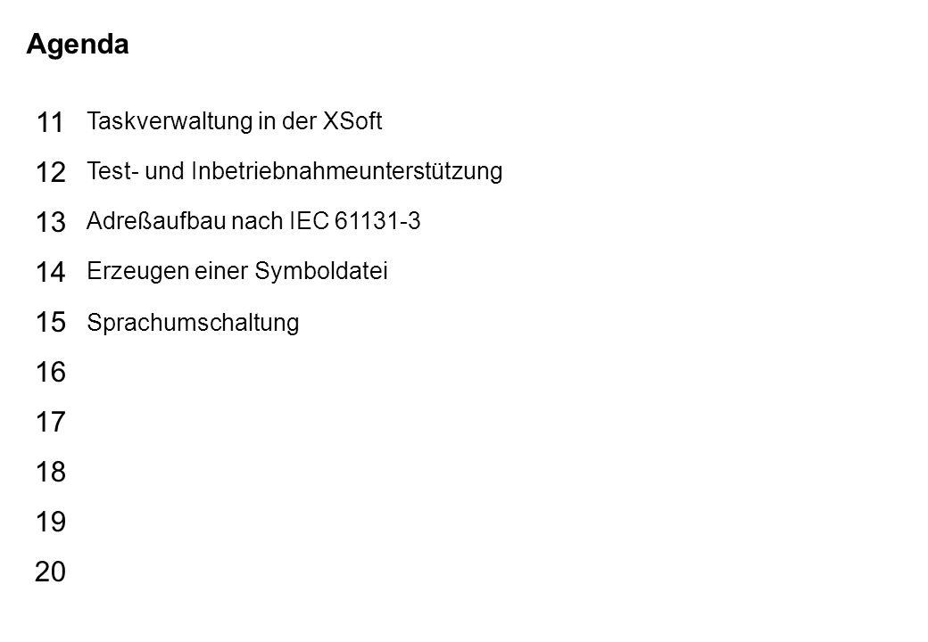 Schutzvermerk nach DIN 34 beachten 05/01/14 Seite 3 XSoft_d Agenda 15 16 17 18 19 20 11 12 13 14 Taskverwaltung in der XSoft Test- und Inbetriebnahmeunterstützung Adreßaufbau nach IEC 61131-3 Erzeugen einer Symboldatei Sprachumschaltung