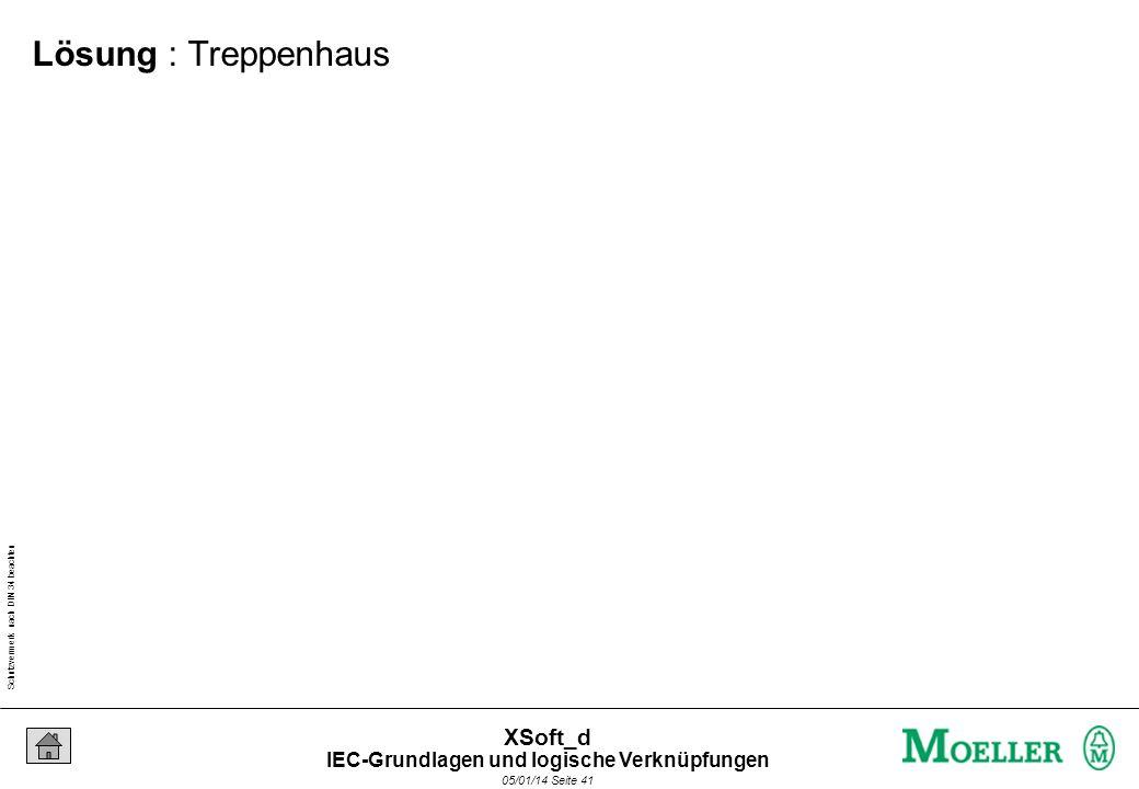 Schutzvermerk nach DIN 34 beachten 05/01/14 Seite 41 XSoft_d Lösung : Treppenhaus IEC-Grundlagen und logische Verknüpfungen
