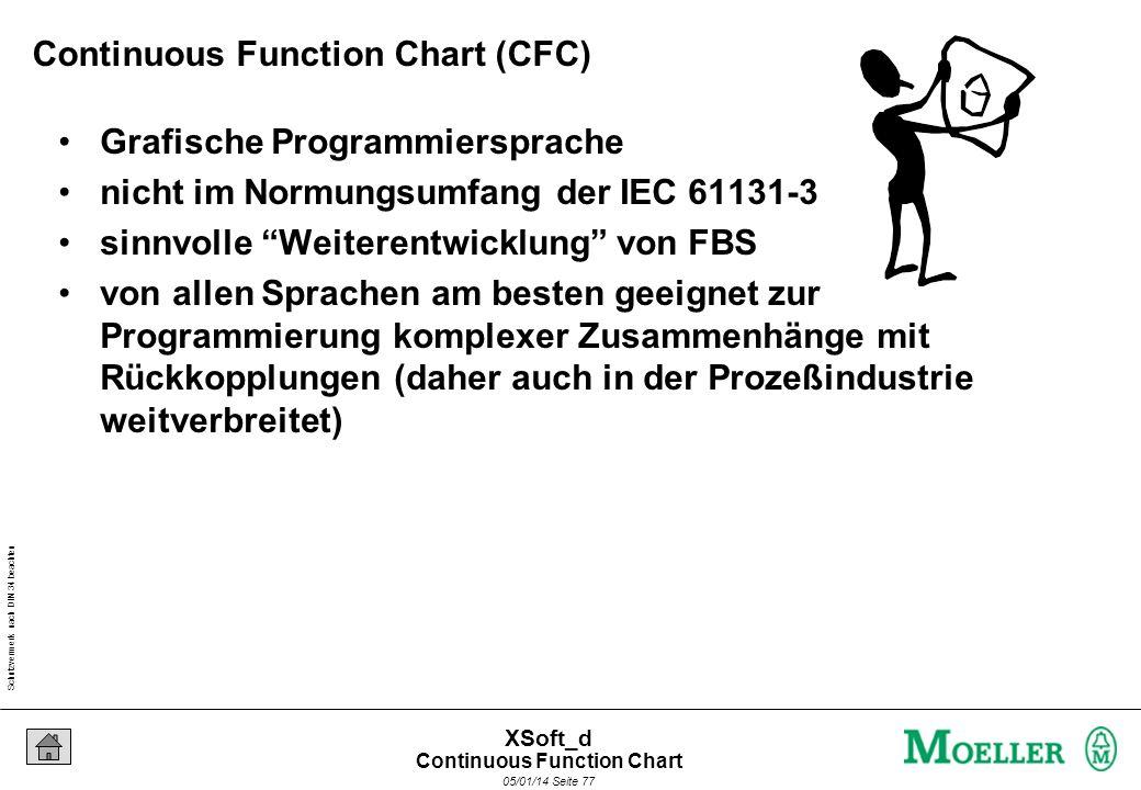 Schutzvermerk nach DIN 34 beachten 05/01/14 Seite 77 XSoft_d Continuous Function Chart (CFC) Grafische Programmiersprache nicht im Normungsumfang der IEC 61131-3 sinnvolle Weiterentwicklung von FBS von allen Sprachen am besten geeignet zur Programmierung komplexer Zusammenhänge mit Rückkopplungen (daher auch in der Prozeßindustrie weitverbreitet) Continuous Function Chart