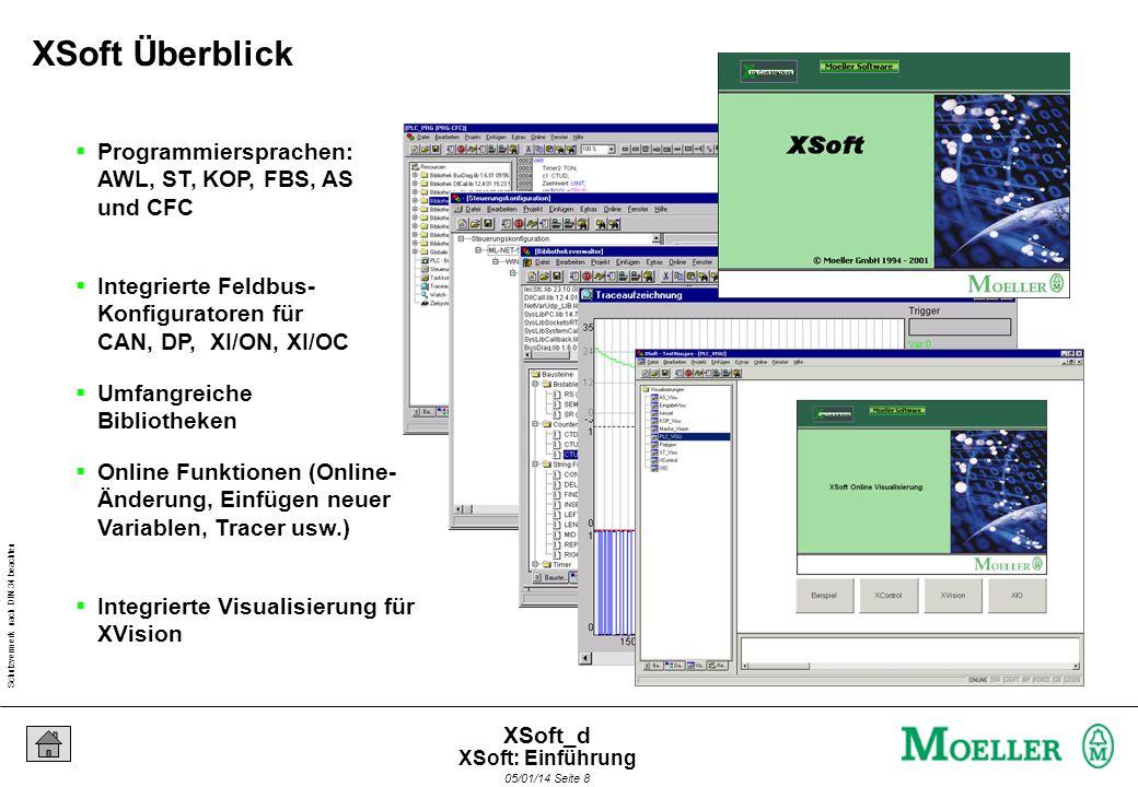 Schutzvermerk nach DIN 34 beachten 05/01/14 Seite 8 XSoft_d Programmiersprachen: AWL, ST, KOP, FBS, AS und CFC Integrierte Feldbus- Konfiguratoren für CAN, DP, XI/ON, XI/OC Umfangreiche Bibliotheken Online Funktionen (Online- Änderung, Einfügen neuer Variablen, Tracer usw.) Integrierte Visualisierung für XVision XSoft Überblick XSoft: Einführung