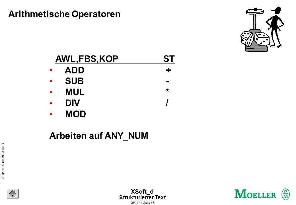 Schutzvermerk nach DIN 34 beachten 05/01/14 Seite 88 XSoft_d AWL,FBS,KOPST ADD + SUB - MUL * DIV / MOD Arbeiten auf ANY_NUM Arithmetische Operatoren Strukturierter Text
