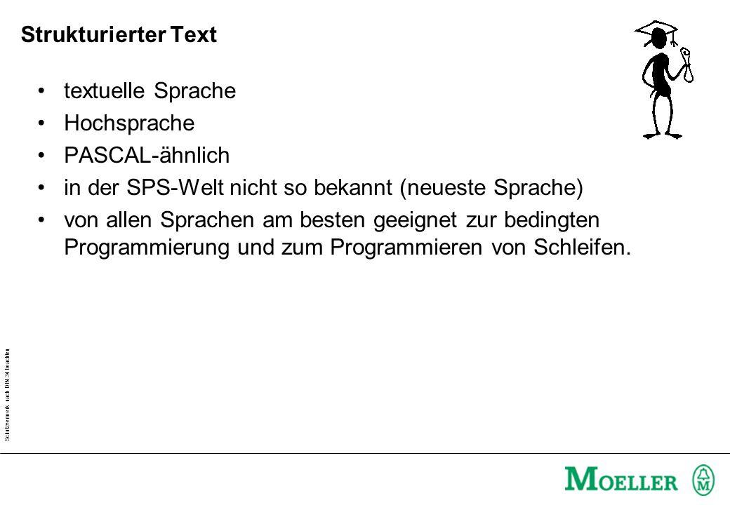 Schutzvermerk nach DIN 34 beachten Strukturierter Text textuelle Sprache Hochsprache PASCAL-ähnlich in der SPS-Welt nicht so bekannt (neueste Sprache)