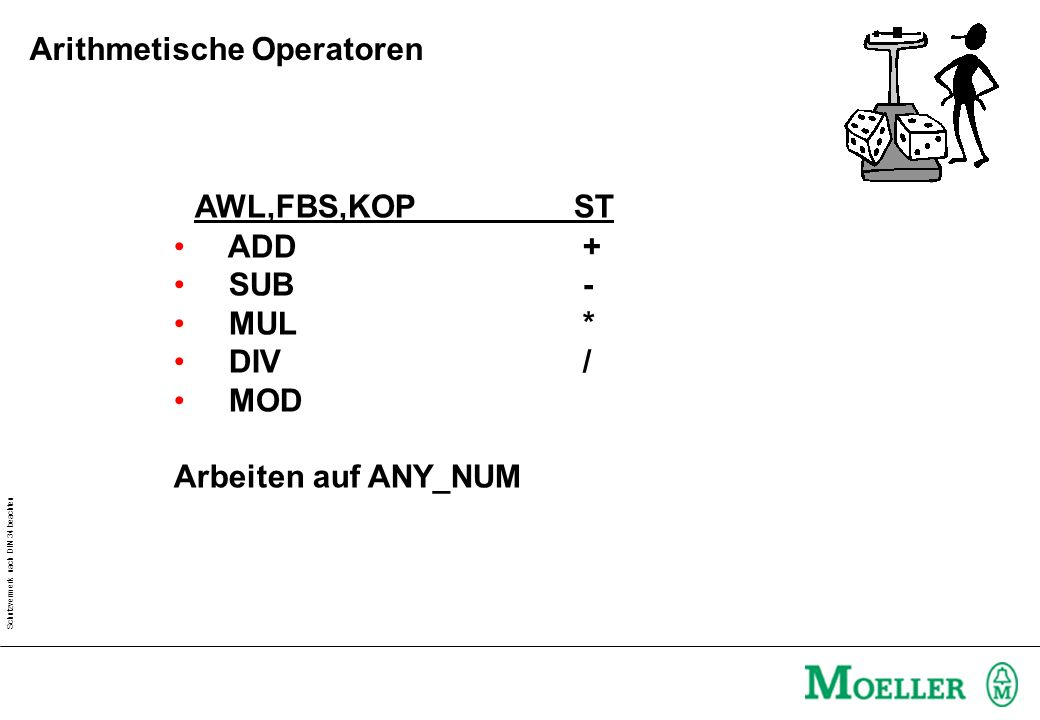 Schutzvermerk nach DIN 34 beachten AWL,FBS,KOPST ADD + SUB - MUL * DIV / MOD Arbeiten auf ANY_NUM Arithmetische Operatoren