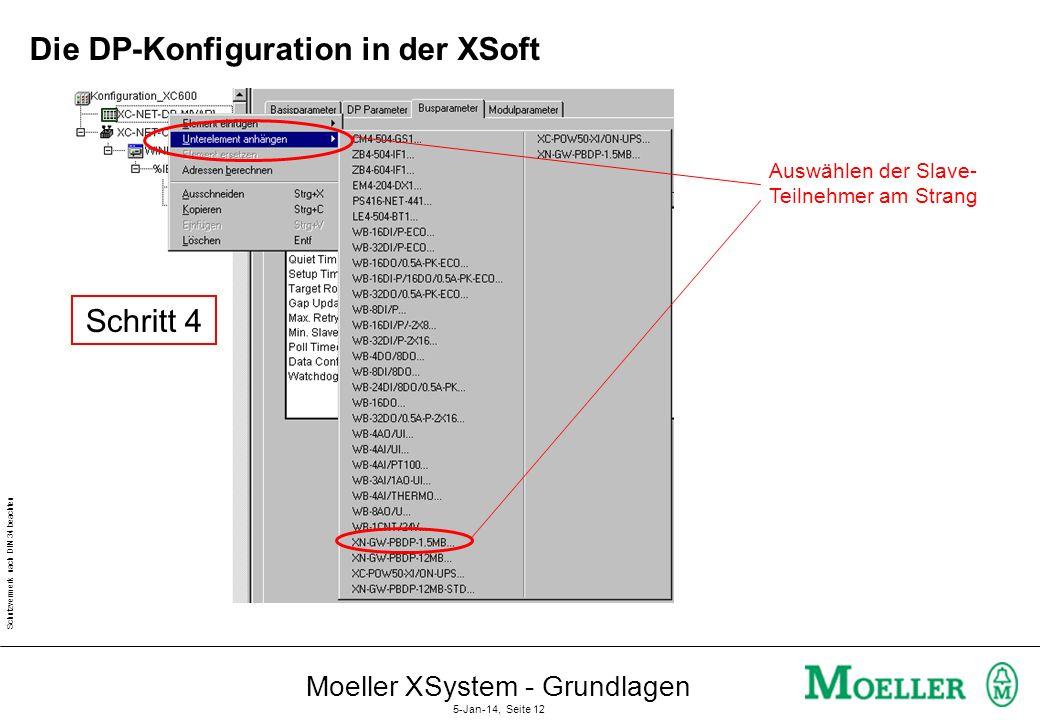 Schutzvermerk nach DIN 34 beachten Moeller XSystem - Grundlagen 5-Jan-14, Seite 11 Die DP-Konfiguration in der XSoft Einstellung der Baudrate für den