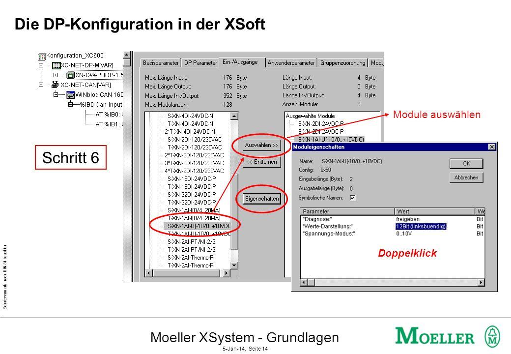 Schutzvermerk nach DIN 34 beachten Moeller XSystem - Grundlagen 5-Jan-14, Seite 13 Die DP-Konfiguration in der XSoft DP-Adresse einstellen Slave aktiv
