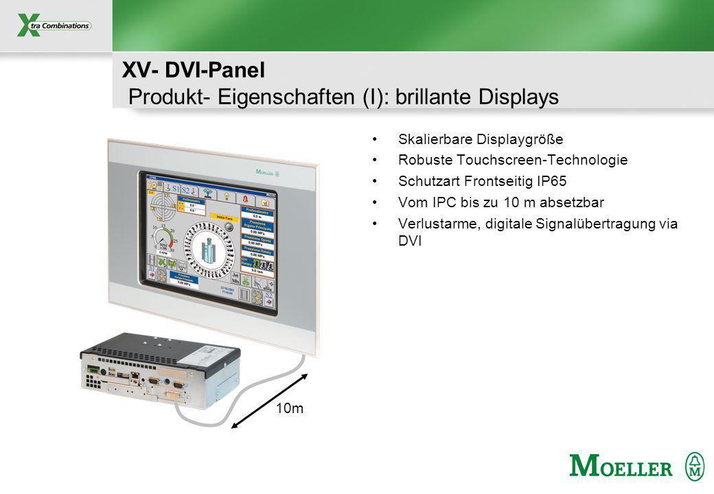Schutzvermerk nach DIN 34 beachten XV- DVI-Panel Produkt- Eigenschaften (I): brillante Displays Skalierbare Displaygröße Robuste Touchscreen-Technologie Schutzart Frontseitig IP65 Vom IPC bis zu 10 m absetzbar Verlustarme, digitale Signalübertragung via DVI 10m