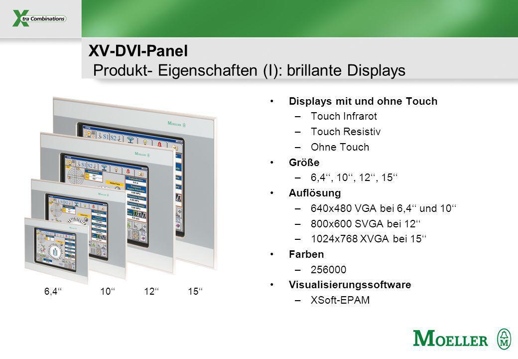 Schutzvermerk nach DIN 34 beachten XV-DVI-Panel Produkt- Eigenschaften (I): brillante Displays Displays mit und ohne Touch –Touch Infrarot –Touch Resistiv –Ohne Touch Größe –6,4, 10, 12, 15 Auflösung –640x480 VGA bei 6,4 und 10 –800x600 SVGA bei 12 –1024x768 XVGA bei 15 Farben –256000 Visualisierungssoftware –XSoft-EPAM 6,4101215