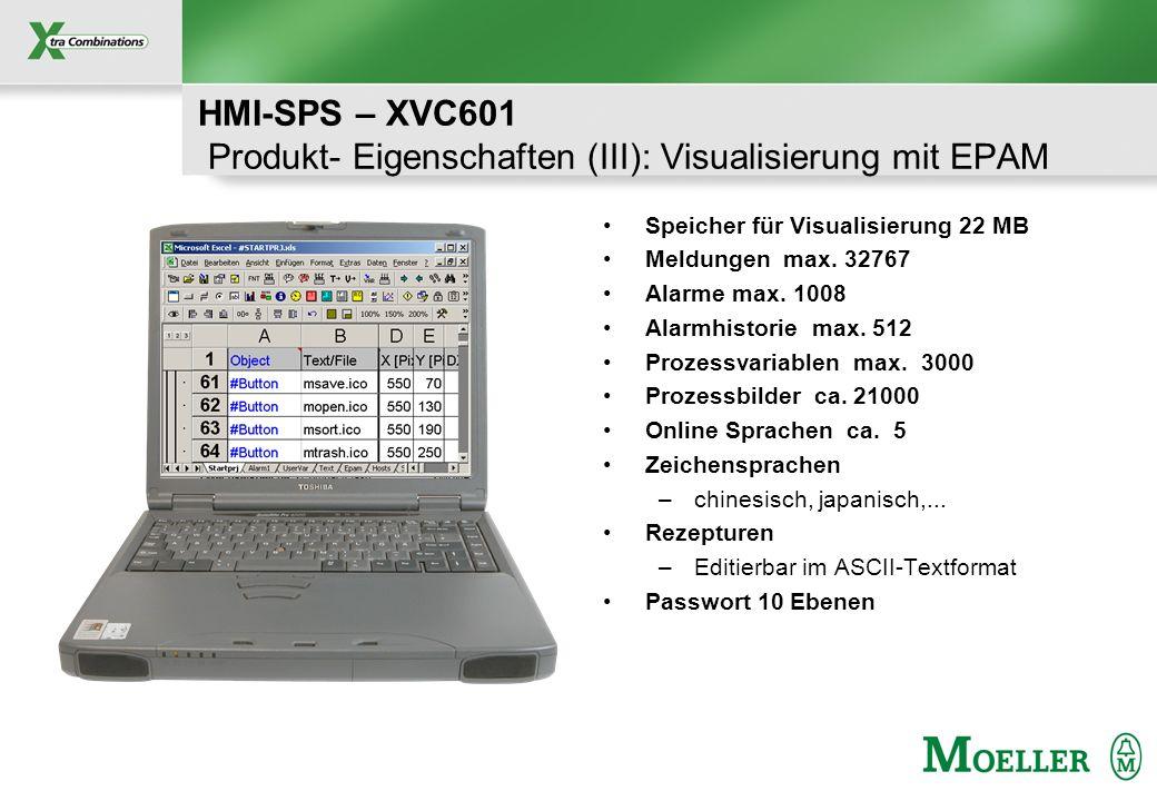 Schutzvermerk nach DIN 34 beachten HMI-SPS – XVC601 Produkt- Eigenschaften (III): Visualisierung mit EPAM Speicher für Visualisierung 22 MB Meldungen