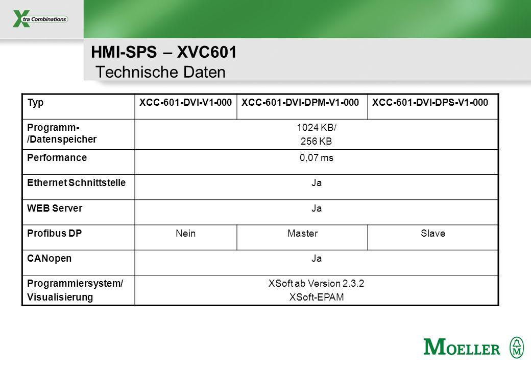 Schutzvermerk nach DIN 34 beachten HMI-SPS – XVC601 Technische Daten TypXCC-601-DVI-V1-000XCC-601-DVI-DPM-V1-000XCC-601-DVI-DPS-V1-000 Programm- /Date