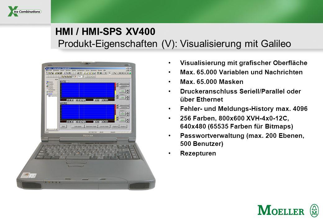 Schutzvermerk nach DIN 34 beachten HMI / HMI-SPS XV400 Produkt-Eigenschaften (V): Visualisierung mit Galileo Visualisierung mit grafischer Oberfläche