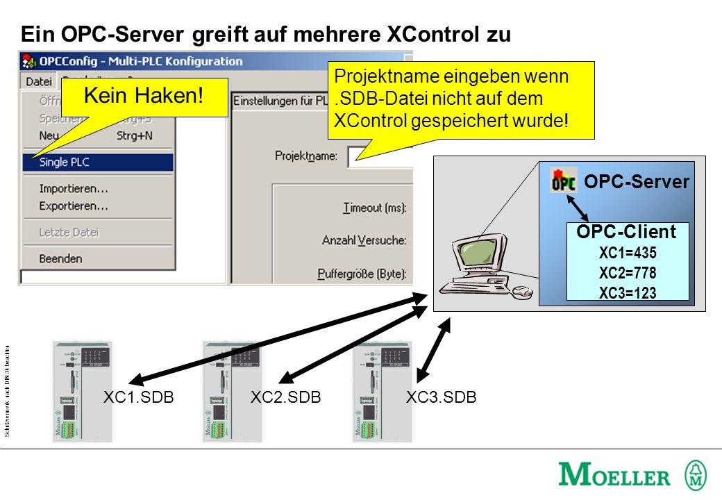 Schutzvermerk nach DIN 34 beachten Ein OPC-Server greift auf mehrere XControl zu Kein Haken.