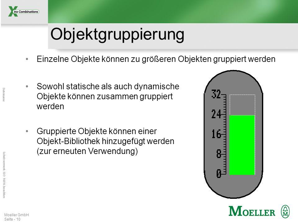 Mastertitelformat bearbeiten Dateiname Schutzvermerk ISO 16016 beachten Moeller GmbH Seite - 10 Objektgruppierung Einzelne Objekte können zu größeren