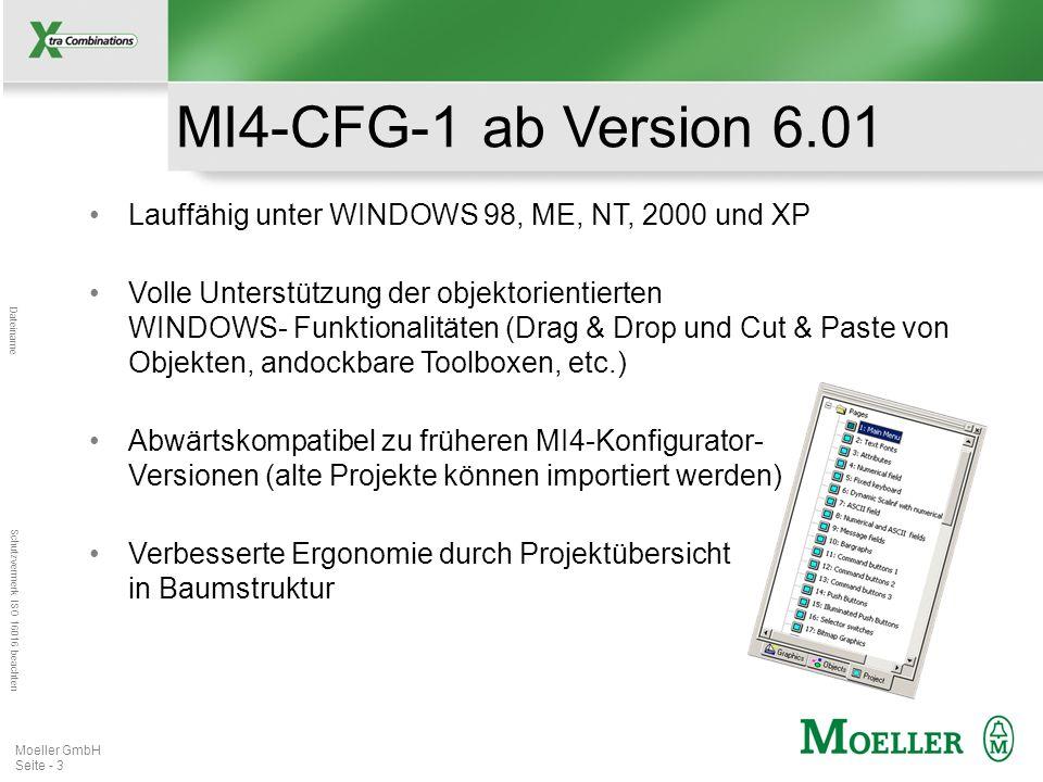 Mastertitelformat bearbeiten Dateiname Schutzvermerk ISO 16016 beachten Moeller GmbH Seite - 3 Lauffähig unter WINDOWS 98, ME, NT, 2000 und XP MI4-CFG