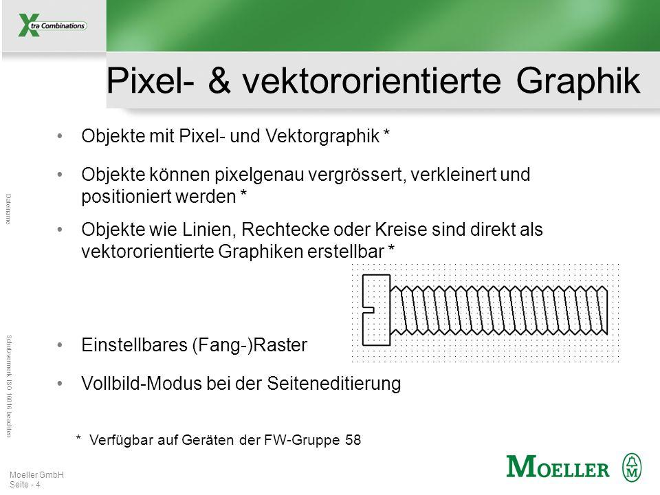 Mastertitelformat bearbeiten Dateiname Schutzvermerk ISO 16016 beachten Moeller GmbH Seite - 4 Pixel- & vektororientierte Graphik Objekte mit Pixel- u