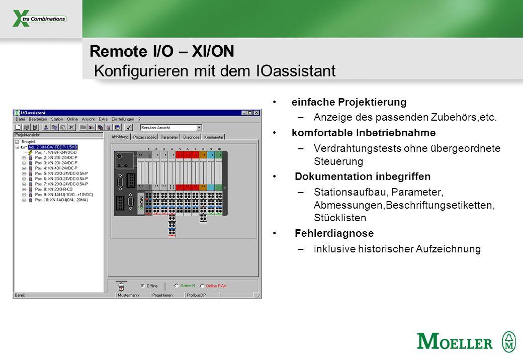 Schutzvermerk nach DIN 34 beachten Remote I/O – XI/ON Konfigurieren mit dem IOassistant einfache Projektierung –Anzeige des passenden Zubehörs,etc. ko