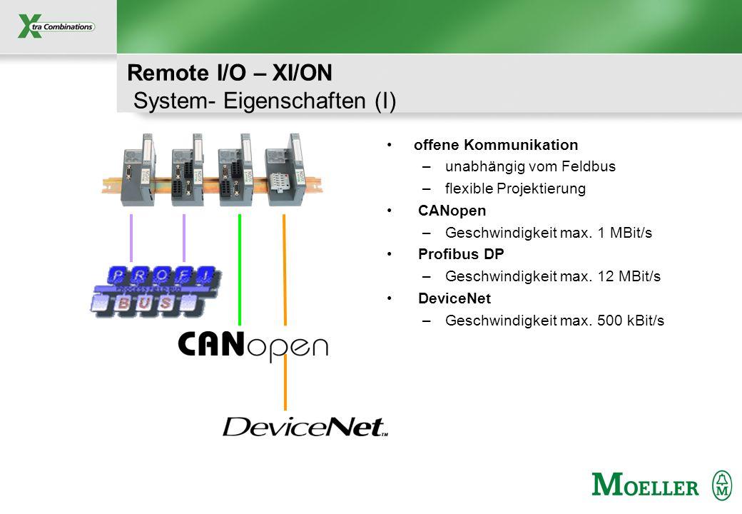 Schutzvermerk nach DIN 34 beachten Remote I/O – XI/ON System- Eigenschaften (I) offene Kommunikation –unabhängig vom Feldbus –flexible Projektierung C