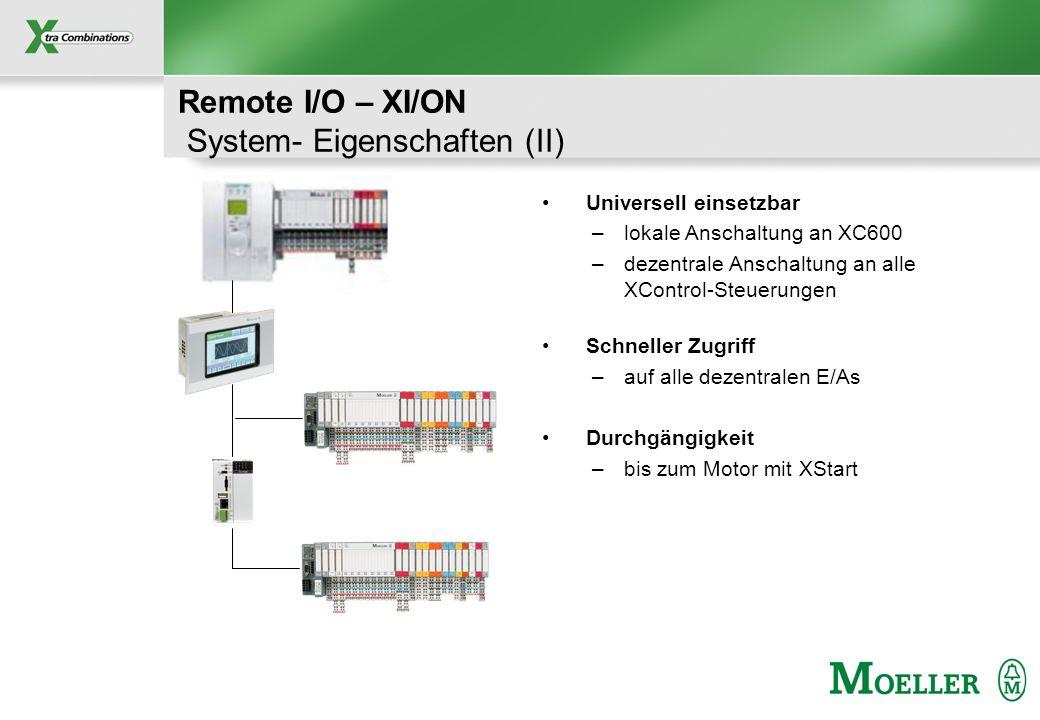 Schutzvermerk nach DIN 34 beachten Remote I/O – XI/ON System- Eigenschaften (II) Universell einsetzbar –lokale Anschaltung an XC600 –dezentrale Anscha