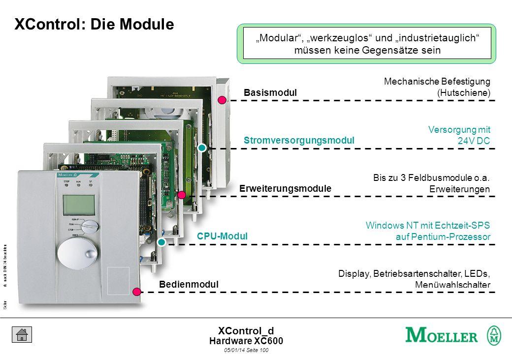Schutzvermerk nach DIN 34 beachten 05/01/14 Seite 99 XControl_d Robuste, stapelbare Rahmen Werkzeuglose Modulmontage Offen für modernste Automation An