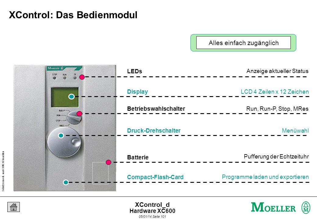 Schutzvermerk nach DIN 34 beachten 05/01/14 Seite 100 XControl_d Basismodul Mechanische Befestigung (Hutschiene) Stromversorgungsmodul Versorgung mit
