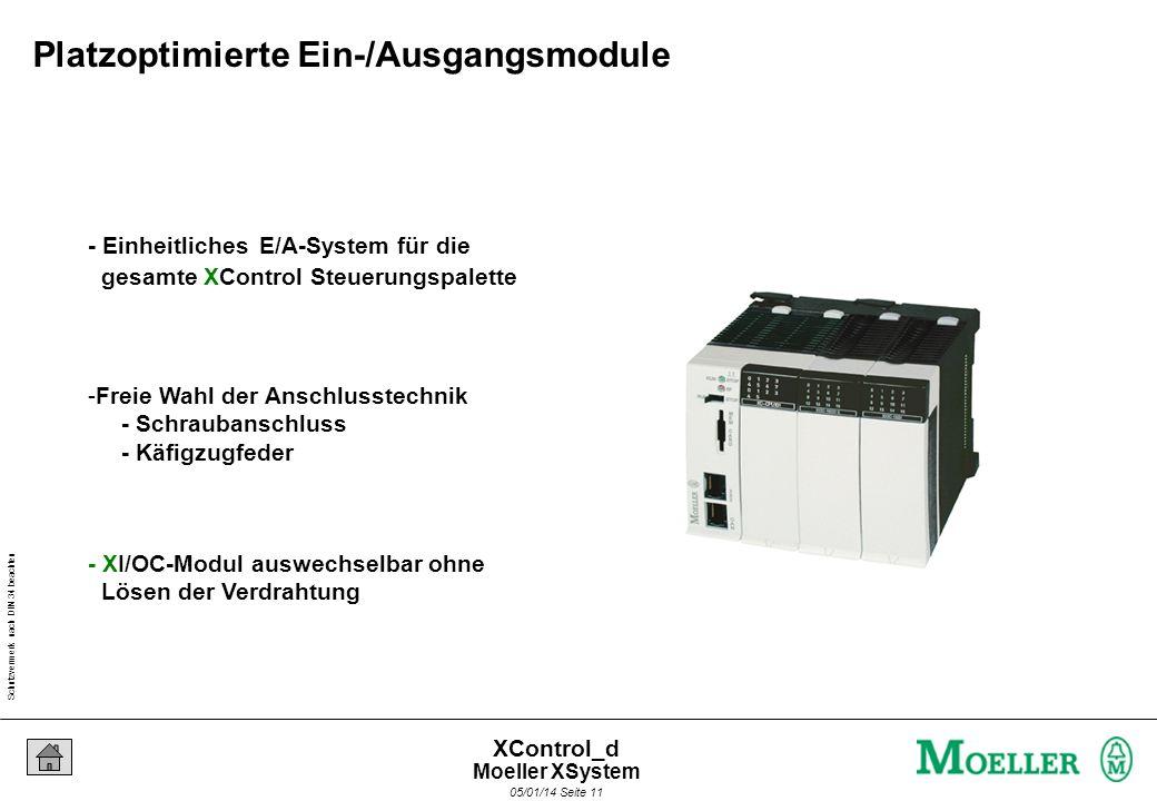 Schutzvermerk nach DIN 34 beachten 05/01/14 Seite 10 XControl_d Die E/A Funktionsmodule im XSystem XControl XI/OC Moeller XSystem