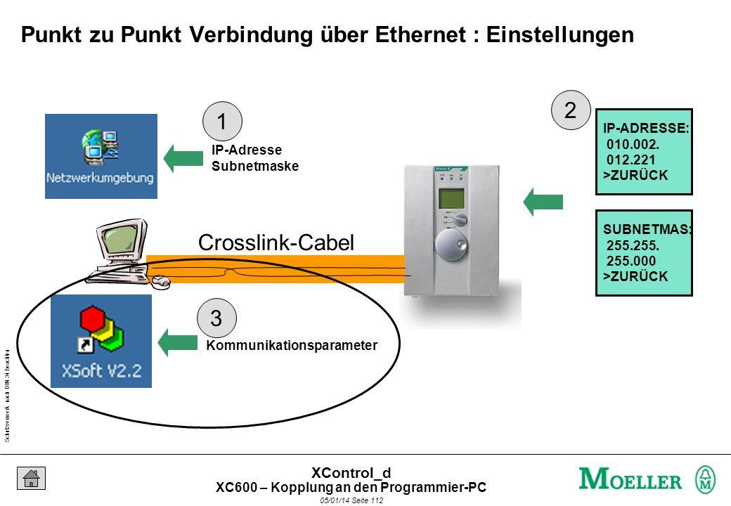 Schutzvermerk nach DIN 34 beachten 05/01/14 Seite 111 XControl_d Crosslink-Cabel IP-ADRESSE: 010.002. 012.221 >ZURÜCK SUBNETMAS: 255.255. 255.000 >ZUR