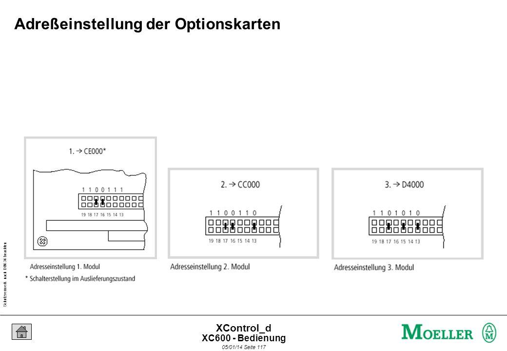 Schutzvermerk nach DIN 34 beachten 05/01/14 Seite 116 XControl_d Mechanischer Zusammenbau XC600 - Bedienung