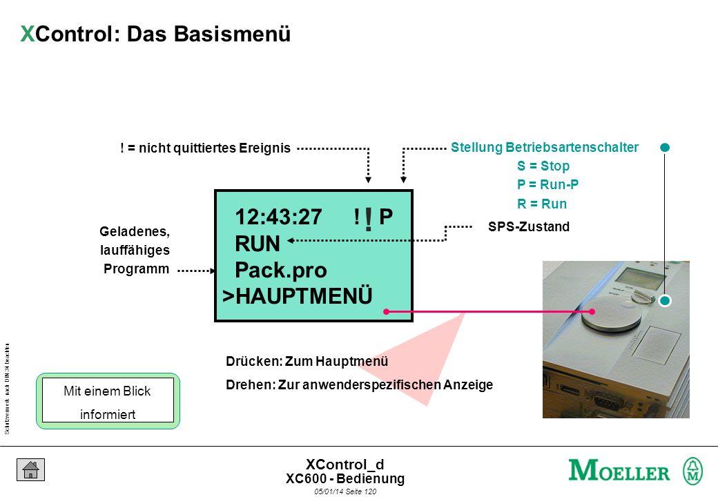 Schutzvermerk nach DIN 34 beachten 05/01/14 Seite 119 XControl_d Diagnose Programm Rezeptur Gerät System Zurück Hauptmenü Anwenderspezifische Anzeige
