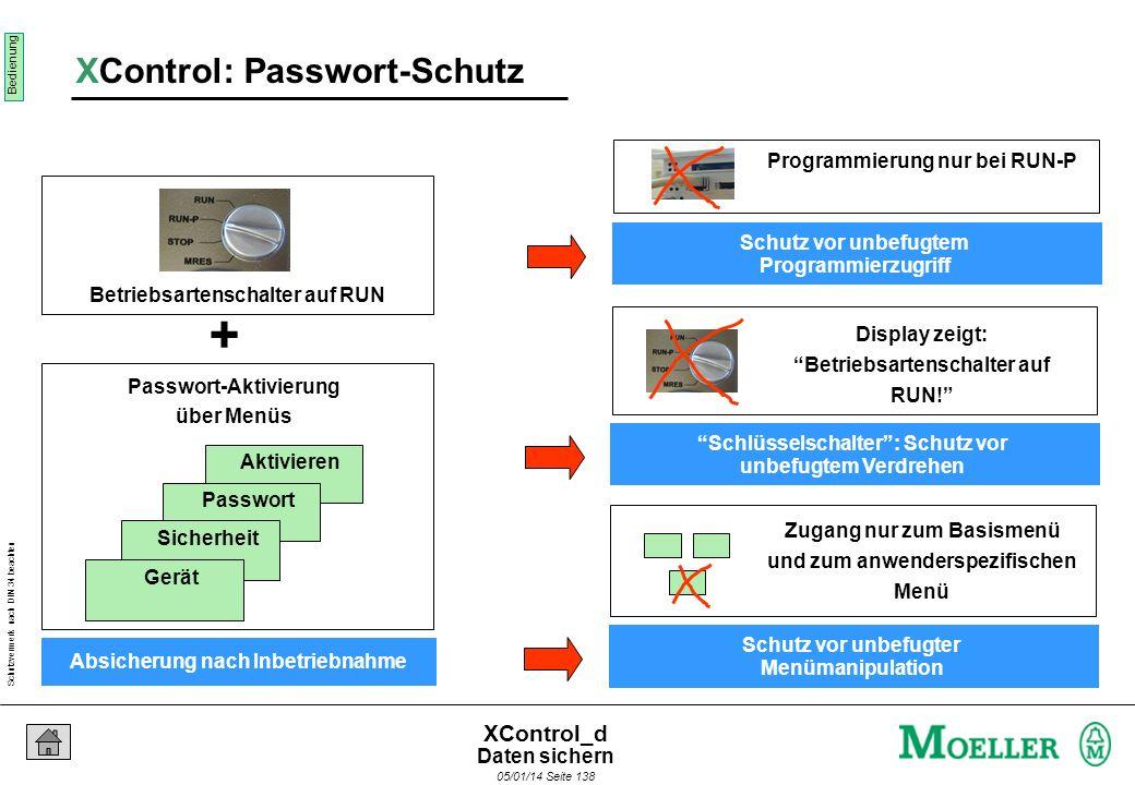 Schutzvermerk nach DIN 34 beachten 05/01/14 Seite 137 XControl_d INTERN Flash Disk (Festspeicher auf CPU- Modul) Programm KOPIEREN Einfaches Verwalten
