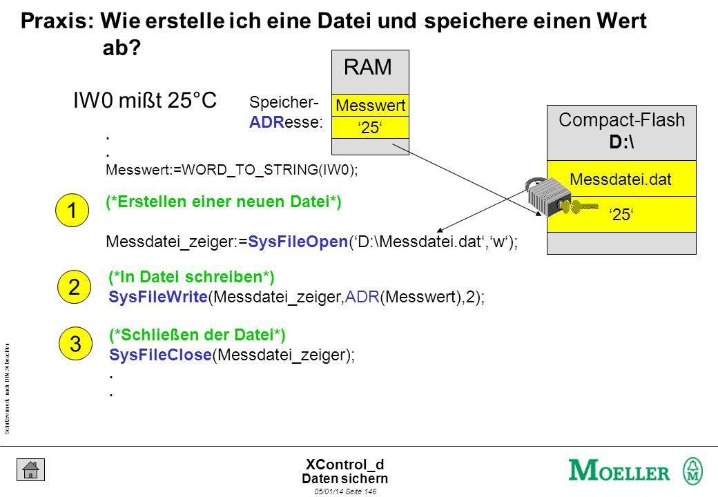 Schutzvermerk nach DIN 34 beachten 05/01/14 Seite 145 XControl_d Einfügen der Bibliothek zur Dateiverwaltung Daten sichern