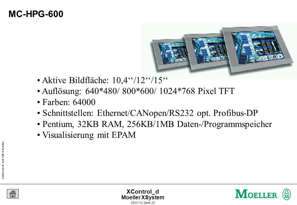 Schutzvermerk nach DIN 34 beachten 05/01/14 Seite 19 XControl_d MC-HPG-300 Aktive Bildfläche: 10,4 Auflösung: 640*480 Pixel VGA-TFT Farben: 64000 Farb